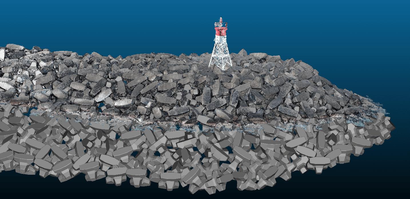 close-up of Port of Sainte-Rose de La Reunion breakwater 3D model